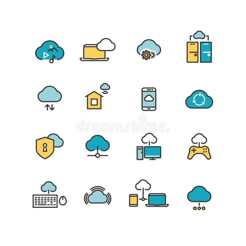 Ordenador de Syncing, red de computación de la nube, análisis de datos grande, línea iconos de la seguridad de Internet del vecto ilustración del vector