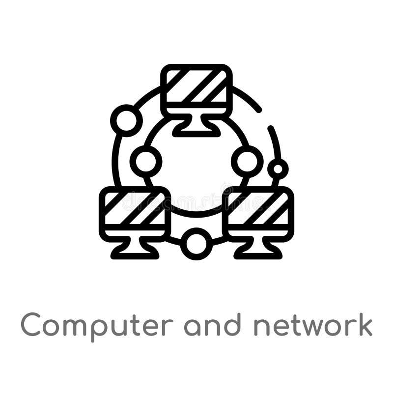 ordenador del esquema e icono del vector de la red línea simple negra aislada ejemplo del elemento del concepto de la educación V stock de ilustración
