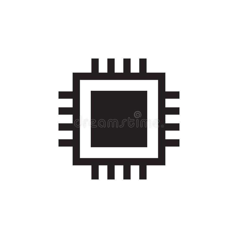 Ordenador del icono de la CPU digital ejemplo del icono del vector del microprocesador stock de ilustración