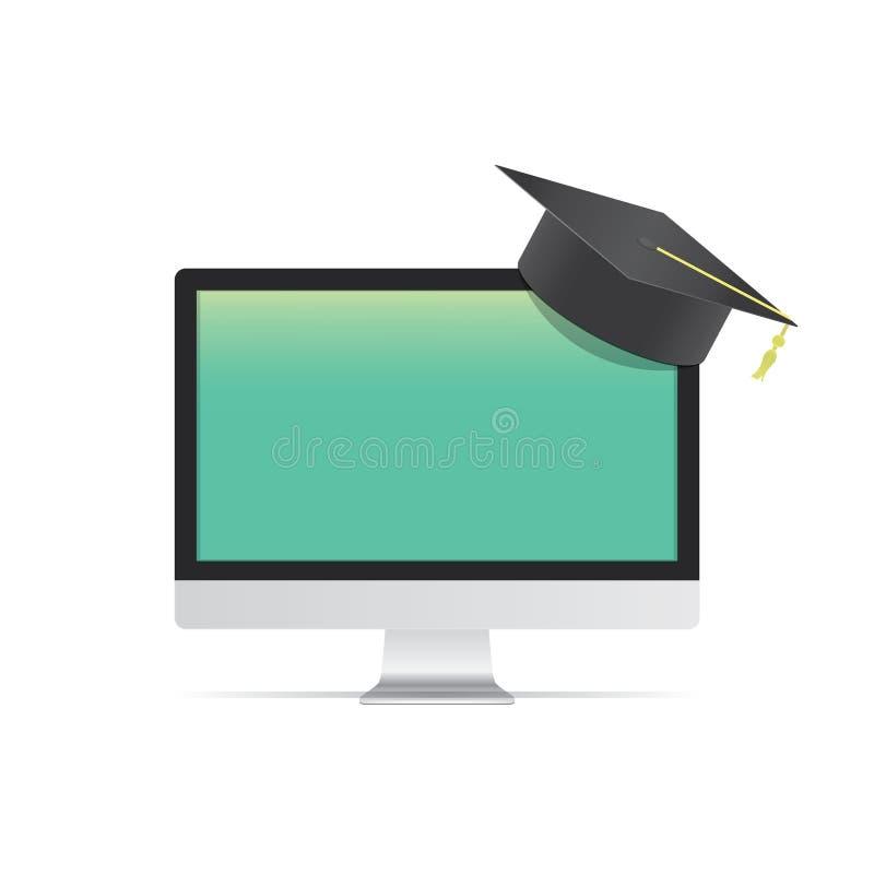 Ordenador en blanco con el aprendizaje malo del sombrero de la graduación con un onli ilustración del vector