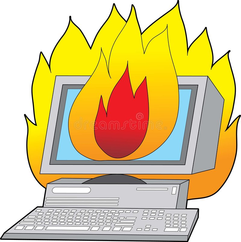 Ordenador en el fuego ilustración del vector