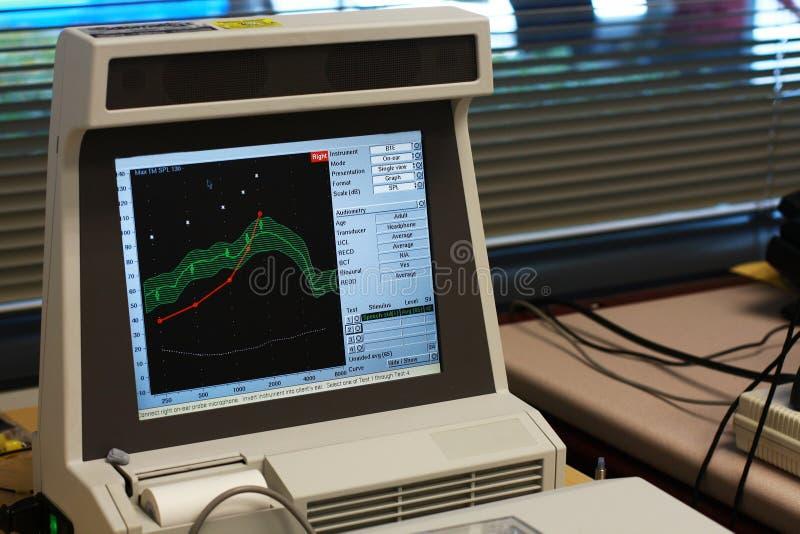 Ordenador en oficina médica de la audiología imágenes de archivo libres de regalías