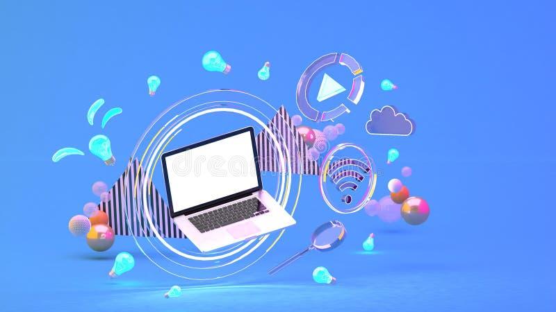 Ordenador en un círculo de la luz entre los iconos sociales de los medios y las bolas coloridas en el fondo azul ilustración del vector