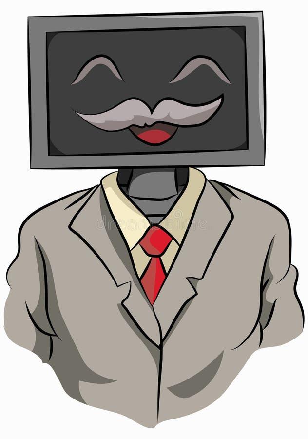 Ordenador en un empleado del traje fotos de archivo