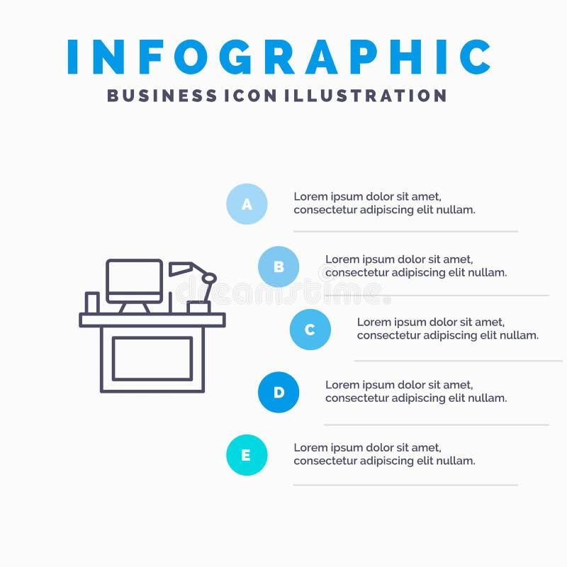 Ordenador, escritorio, mesa, monitor, oficina, lugar, línea icono de la tabla con el fondo del infographics de la presentación de libre illustration