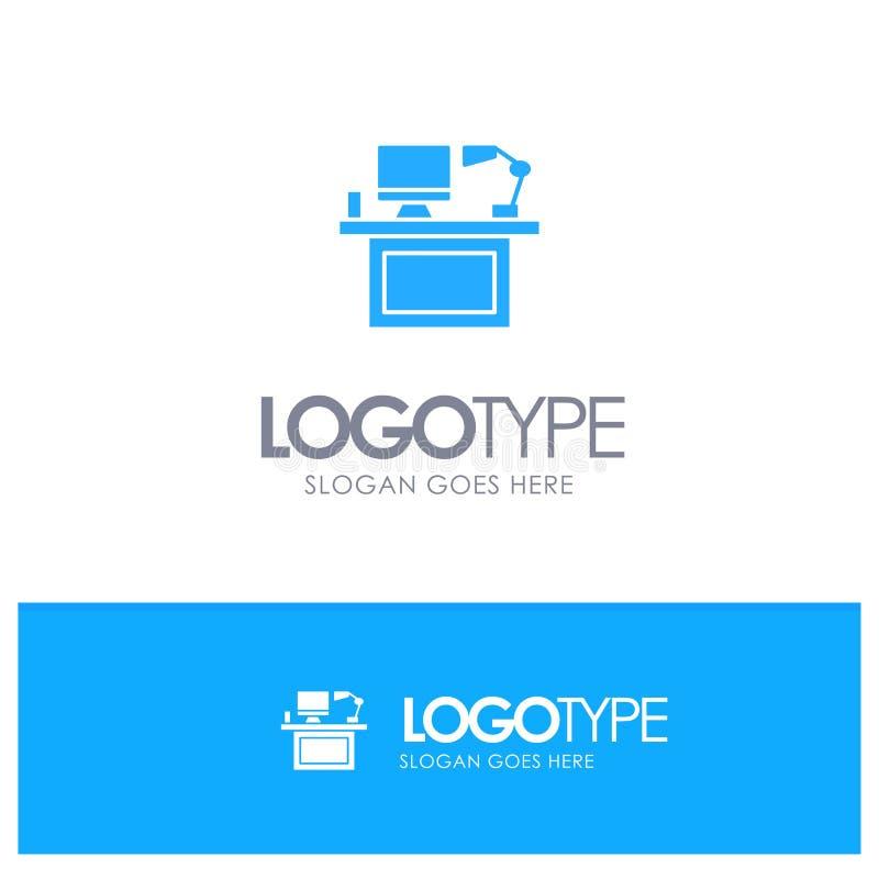 Ordenador, escritorio, mesa, monitor, oficina, lugar, logotipo sólido azul de la tabla con el lugar para el tagline libre illustration