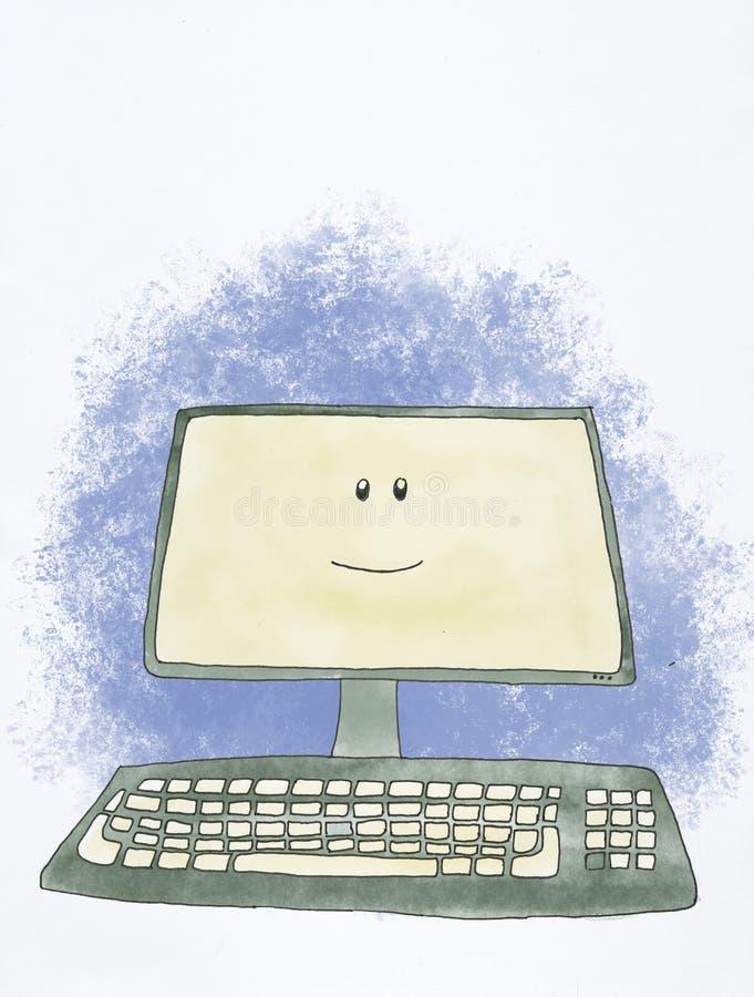 Ordenador feliz ilustración del vector