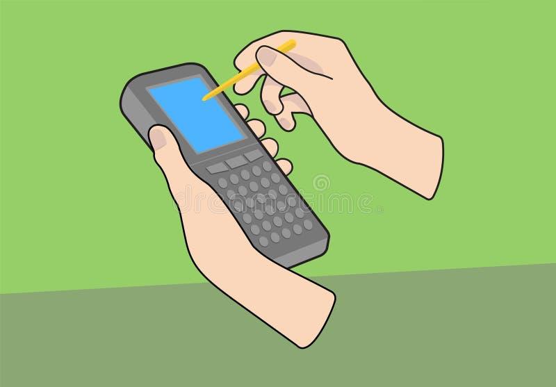 Ordenador Handheld con las manos stock de ilustración
