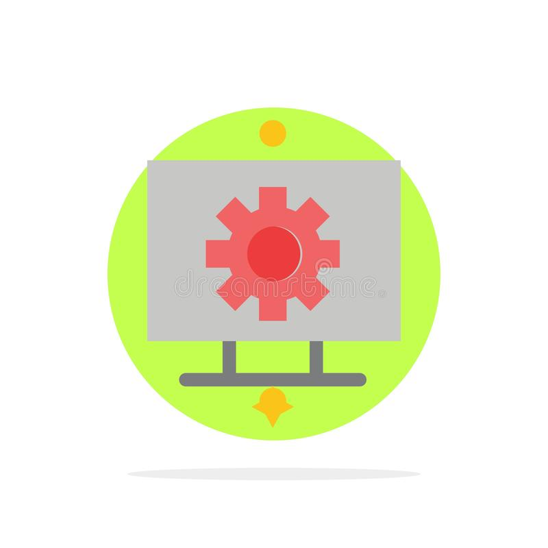 Ordenador, hardware, ajuste, icono plano del color de fondo del círculo del extracto del engranaje stock de ilustración