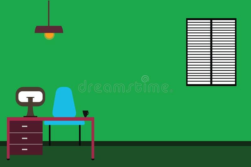 Ordenador interior minimalista y estudio de Work Space de la copia del concepto del negocio del diseño del fondo abstracto modern stock de ilustración