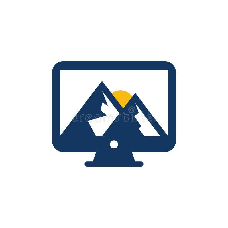 Ordenador Logo Icon Design de la montaña ilustración del vector