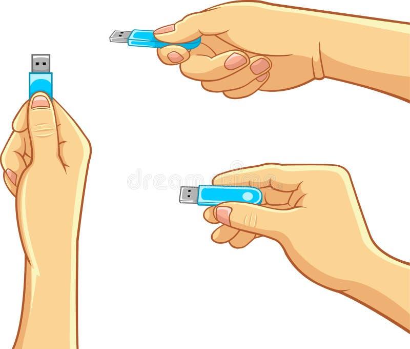 Ordenador - mano que sostiene memoria USB stock de ilustración