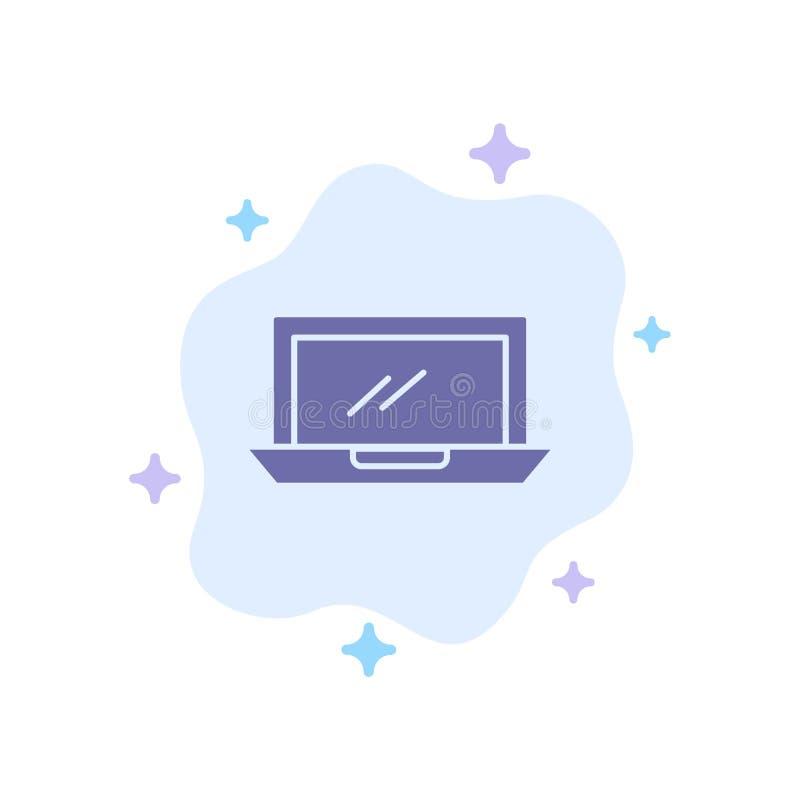Ordenador, mesa, dispositivo, hardware, icono azul de la PC en fondo abstracto de la nube stock de ilustración