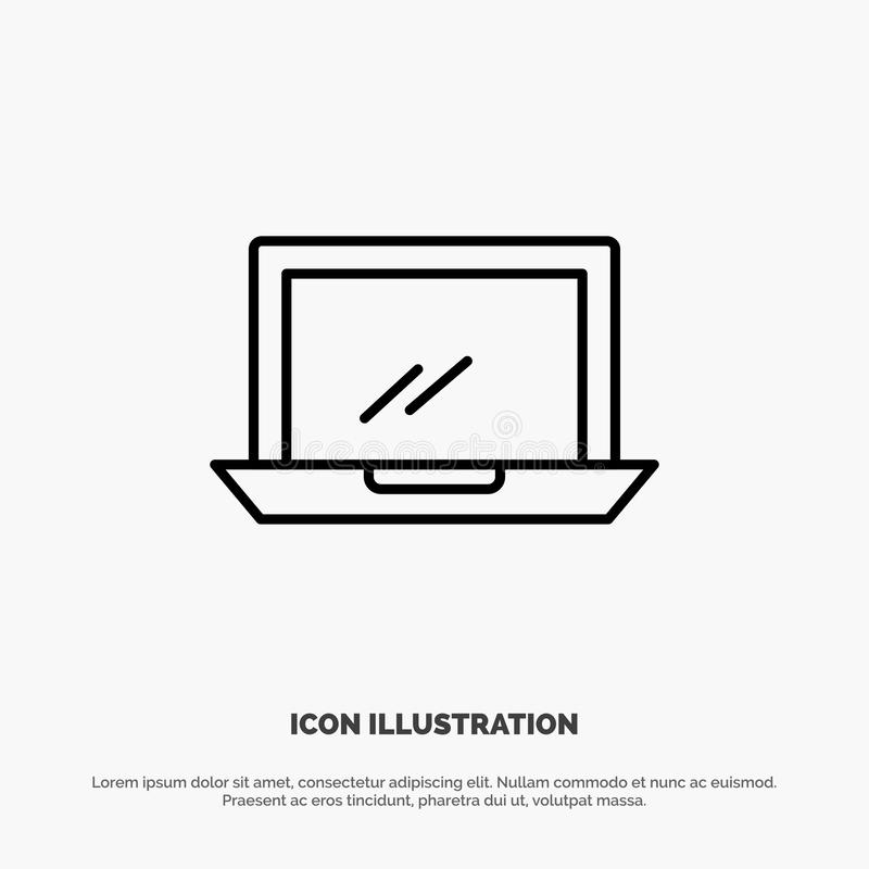 Ordenador, mesa, dispositivo, hardware, línea vector de la PC del icono stock de ilustración