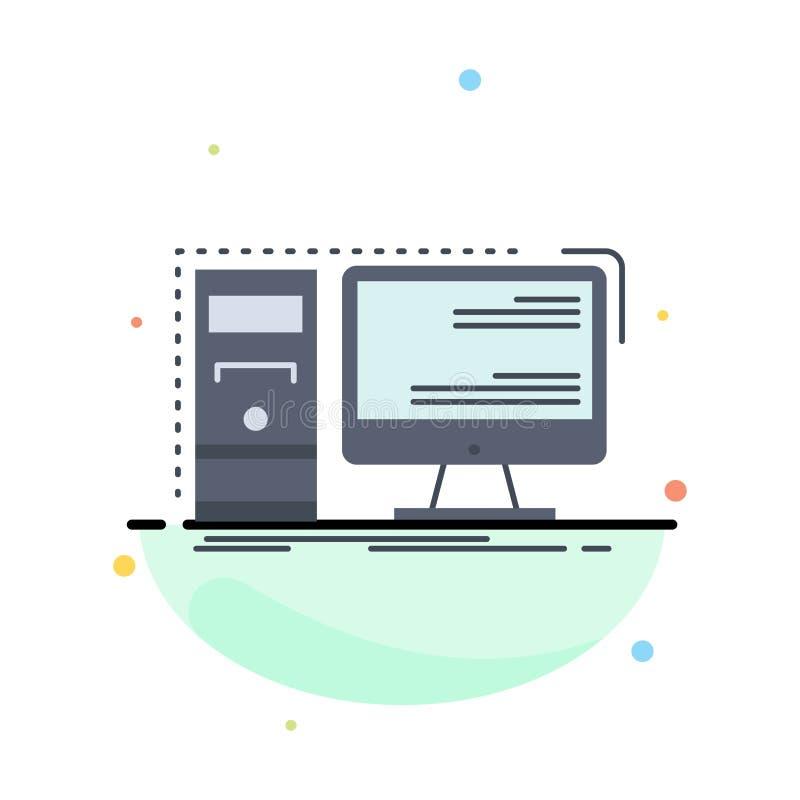 Ordenador, mesa, hardware, puesto de trabajo, vector plano del icono del color del sistema libre illustration