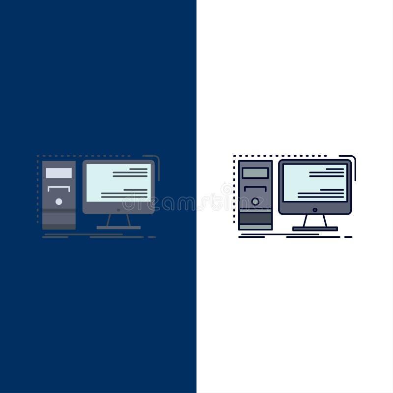 Ordenador, mesa, hardware, puesto de trabajo, vector plano del icono del color del sistema ilustración del vector
