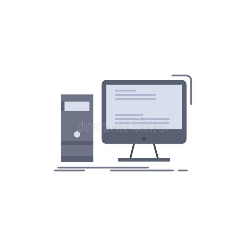 Ordenador, mesa, juego, PC, vector plano personal del icono del color libre illustration