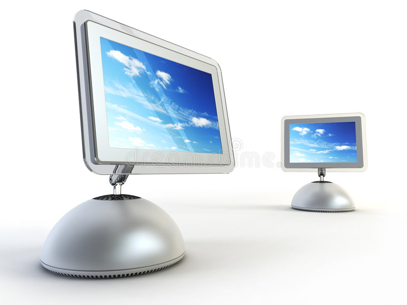 Ordenador moderno dos imagen de archivo