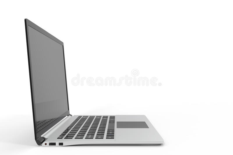 Ordenador moderno, maqueta en blanco del ordenador portátil Maqueta brillante del ordenador portátil, representación 3D ilustración del vector