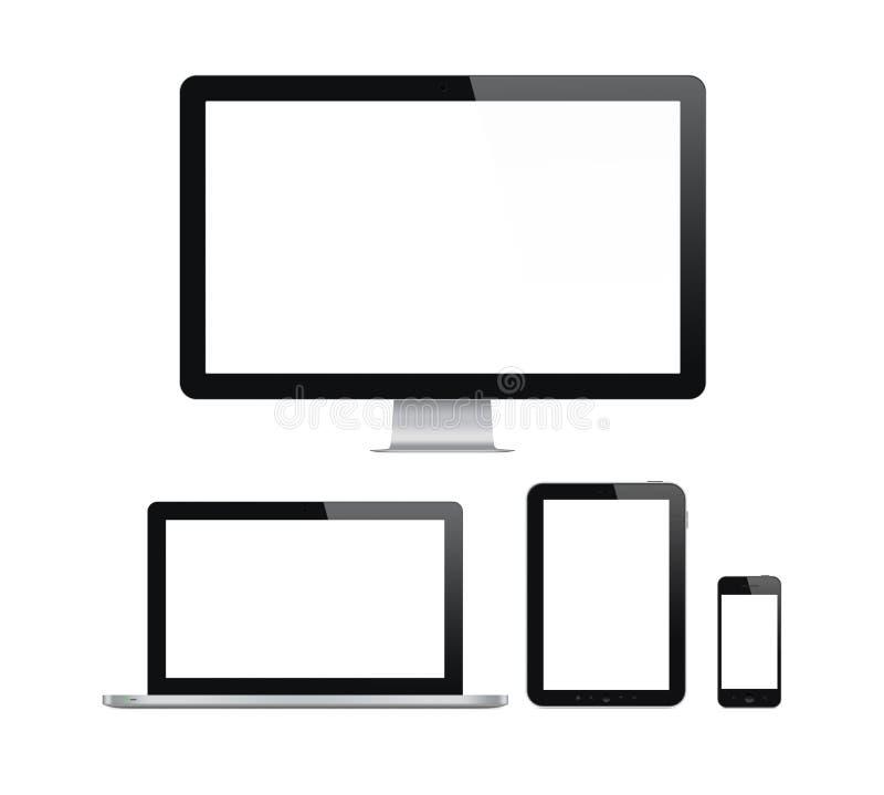 Ordenador moderno y dispositivos móviles fijados ilustración del vector