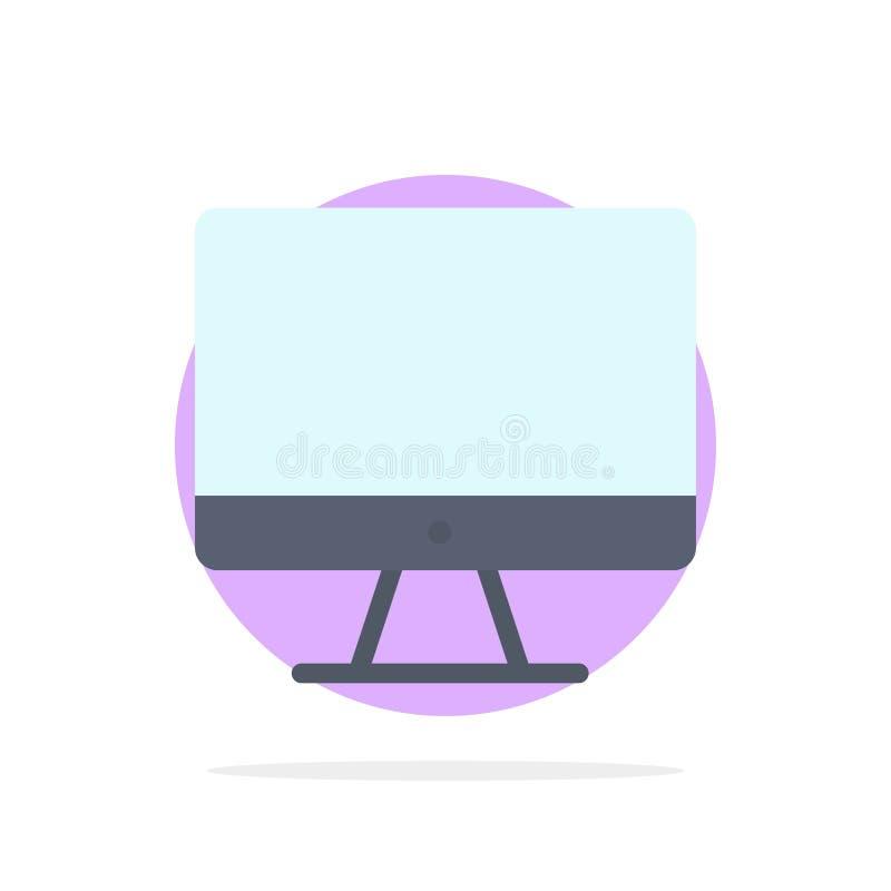 Ordenador, monitor, pantalla, icono plano del color de fondo abstracto del círculo del hardware ilustración del vector