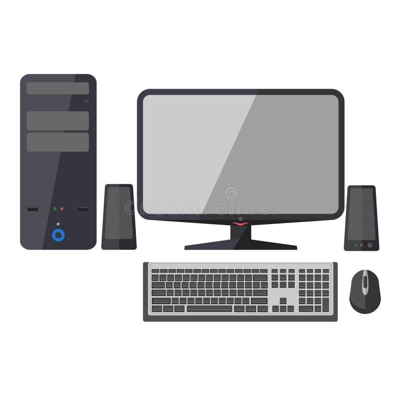 Ordenador, monitor, teclado y ratón stock de ilustración