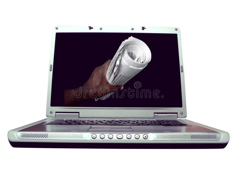 Ordenador - noticias de la computadora portátil foto de archivo libre de regalías