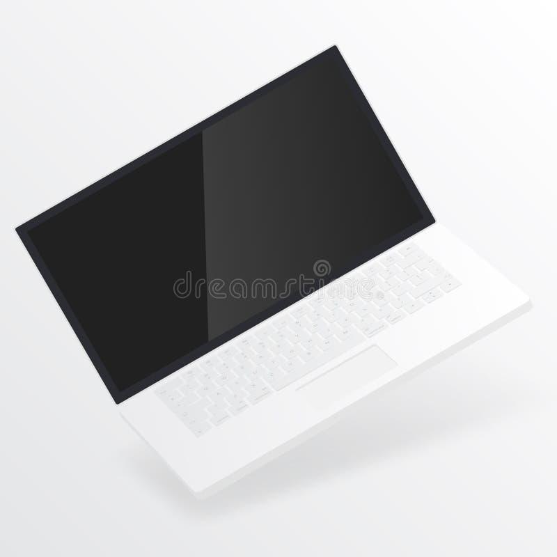 Ordenador portátil abierto blanco con la pantalla en blanco aislada en el fondo blanco cuaderno del ordenador con la pantalla vac libre illustration