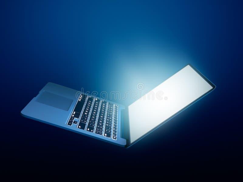 Ordenador portátil abierto con brillar intensamente ligero fotos de archivo libres de regalías