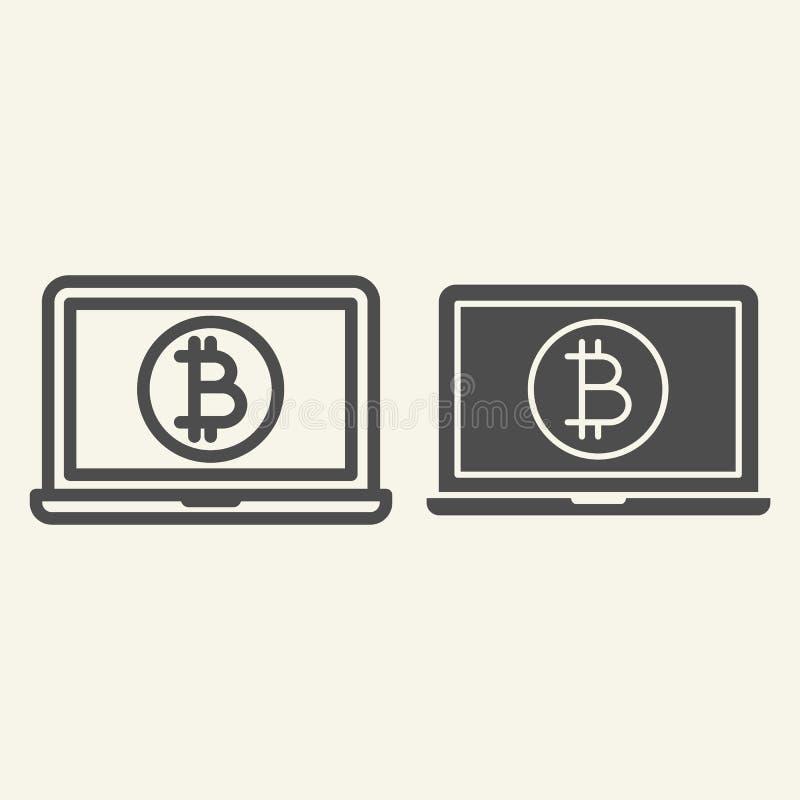 Ordenador portátil abierto con la línea de la moneda del bitcoin y el icono del glyph Moneda Crypto en el ejemplo del vector del  stock de ilustración