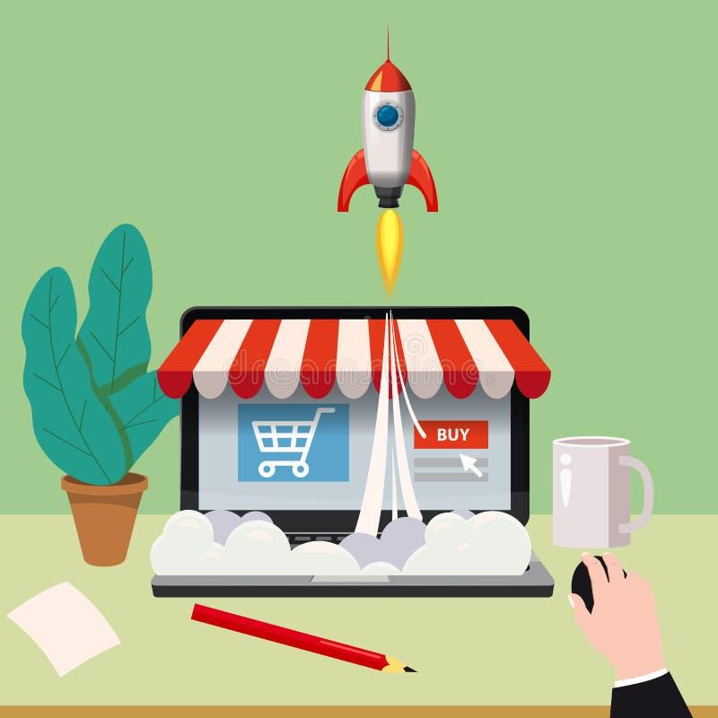 Ordenador portátil abierto con la pantalla de la compra, concepto, lanzamiento de la tienda en línea, cohetes de lanzamiento, vec libre illustration