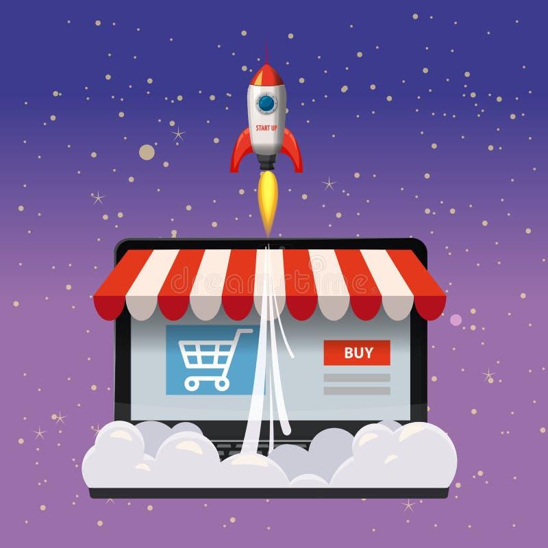 Ordenador portátil abierto con la pantalla de la compra, concepto, lanzamiento de la tienda en línea, cohetes de lanzamiento, vec ilustración del vector