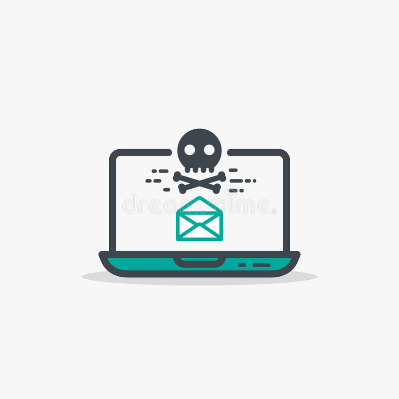 Ordenador portátil abierto del correo electrónico y del malware libre illustration