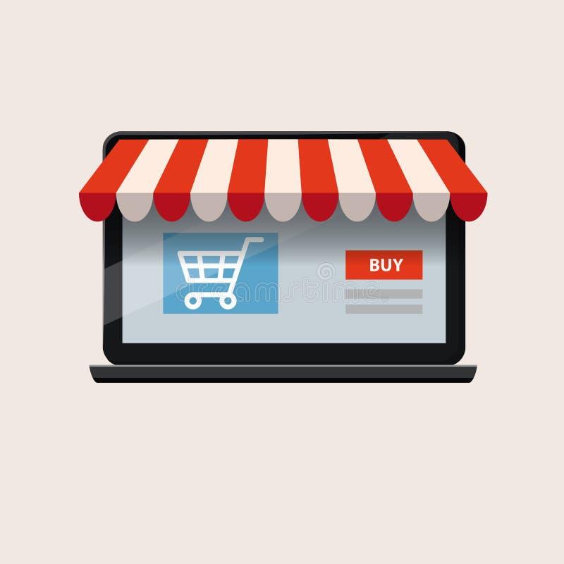 Ordenador portátil abierto del negro con y compra de la pantalla Cuaderno del ordenador Compras en línea del concepto, vector, ai libre illustration