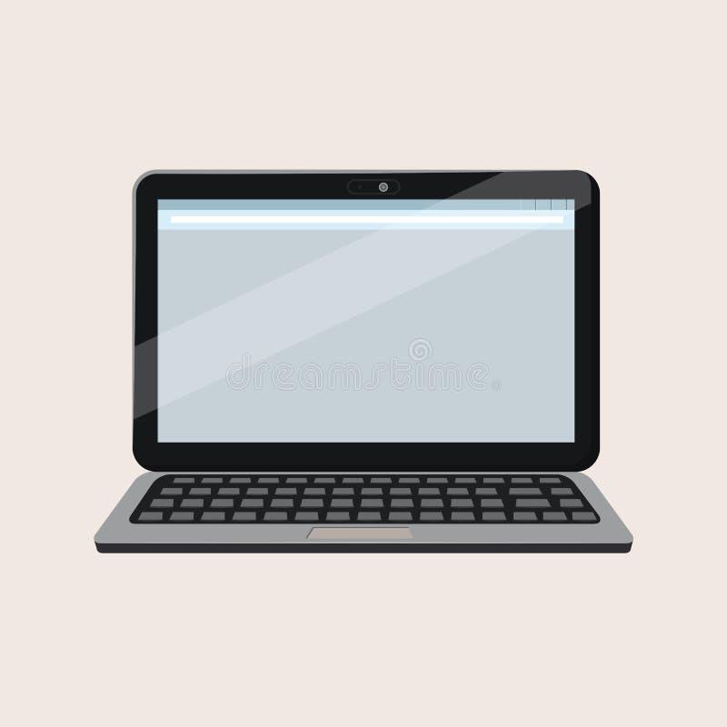 Ordenador portátil abierto moderno con la pantalla en blanco aislada en el fondo blanco Maqueta realista del ordenador portátil V libre illustration