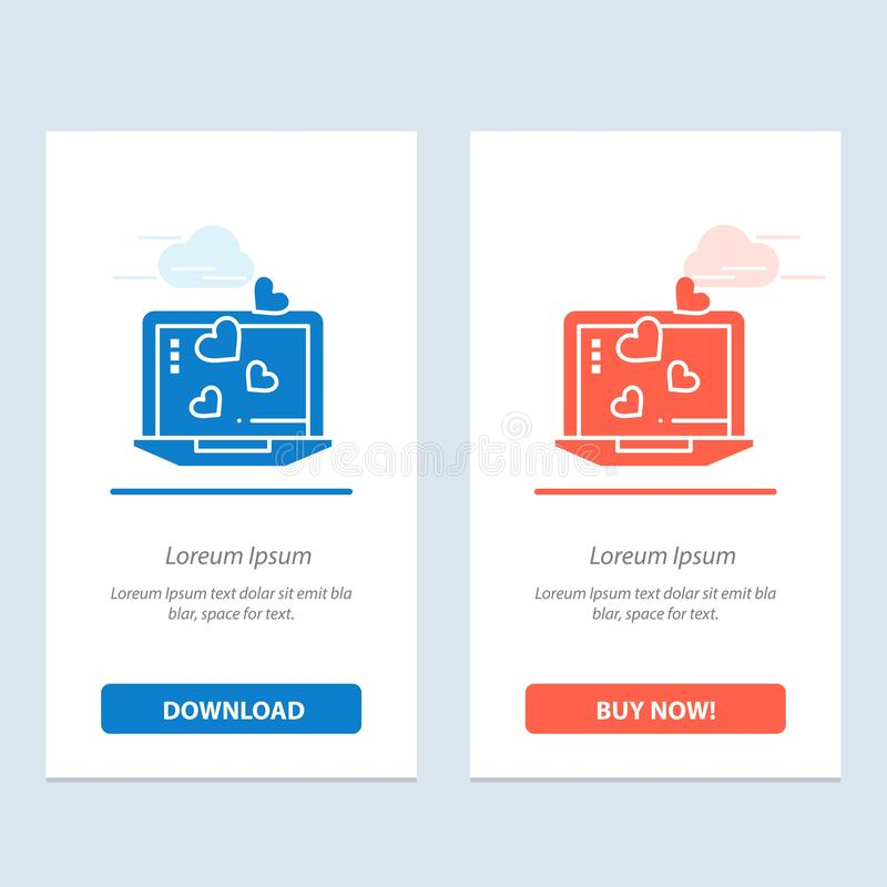 Ordenador portátil, amor, corazón, azul de la boda y transferencia directa roja y ahora comprar la plantilla de la tarjeta del ap stock de ilustración