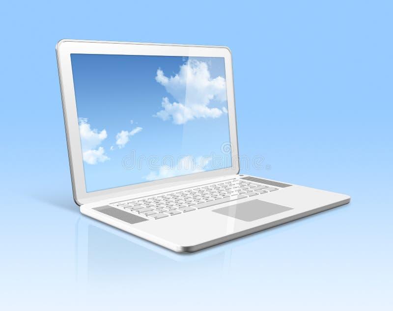 Ordenador portátil blanco con la pantalla de cielo aislada stock de ilustración