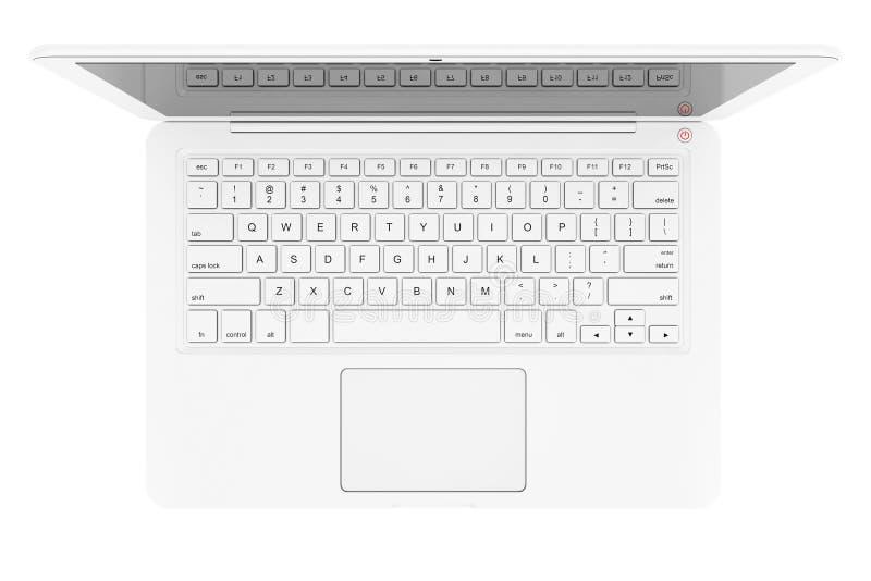 Ordenador portátil blanco moderno representación 3d stock de ilustración