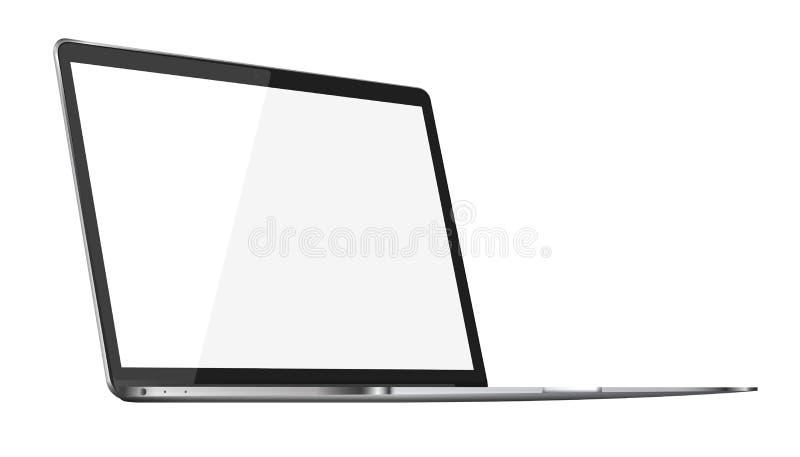 Ordenador portátil brillante moderno aislado en el fondo blanco ilustración del vector