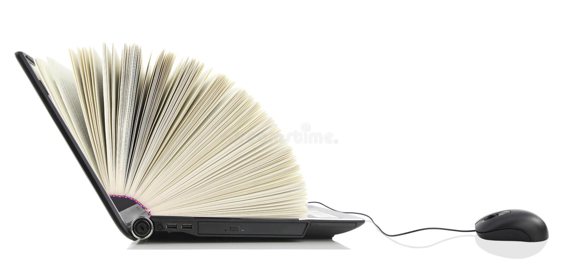 Ordenador portátil como libro fotografía de archivo