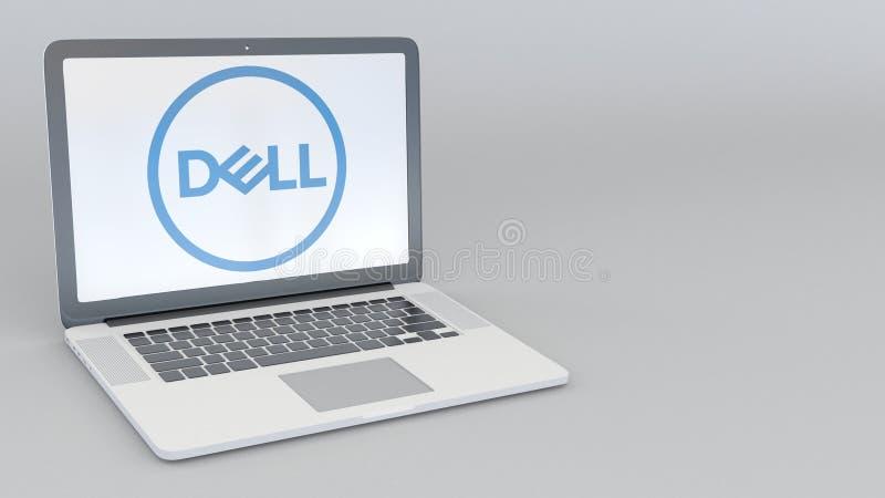 Ordenador portátil con Dell Inc LOGOTIPO Representación conceptual del editorial 3D de la informática stock de ilustración