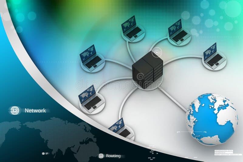 Ordenador portátil con el cortafuego grande del trabajo de la red del servidor imagen 3d ilustración del vector