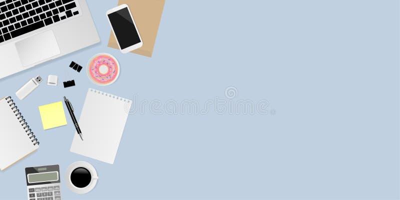 Ordenador portátil con el cuaderno, la pluma, los clips de papel metálicos negros, la calculadora, la taza de café, el buñuelo, m ilustración del vector