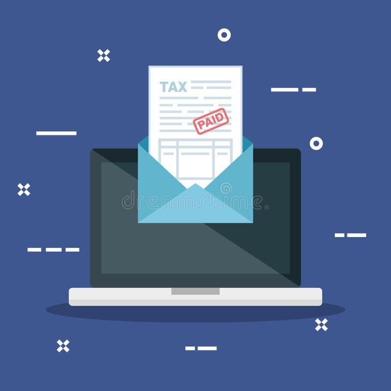 Ordenador portátil con el documento del informe de la factura dentro de la tarjeta stock de ilustración