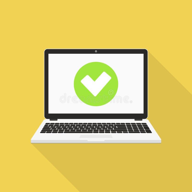 Ordenador portátil con el ejemplo del vector de la marca de cotejo, diseño plano libre illustration