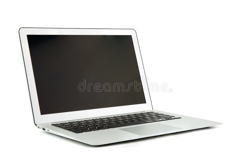 Ordenador portátil, ordenador portátil con el espacio de la copia aislado en el fondo blanco imagenes de archivo