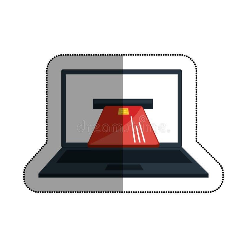 ordenador portátil con el icono aislado de la tarjeta de crédito libre illustration