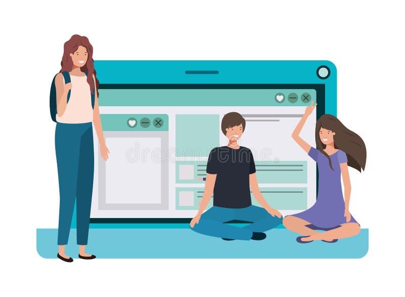 Ordenador portátil con el icono de grupo de personas ilustración del vector