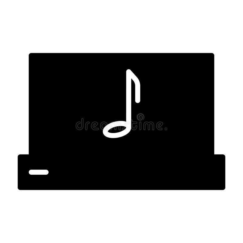 Ordenador portátil con el icono de la silueta de la nota de la música pictogram libre illustration