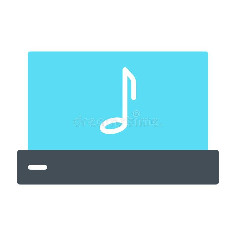 Ordenador portátil con el icono de la silueta de la nota de la música Pictograma del vector libre illustration